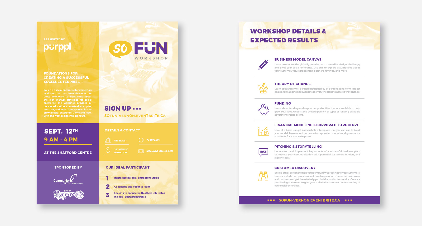 Purppl SoFun Workshop Print Assets created by Catalyst Marketing
